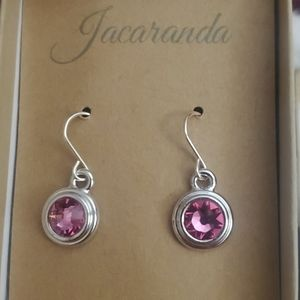 NWOT Silver pink dangly earrings